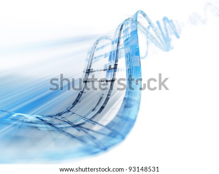 Abstract blue background composition on white - stock photo