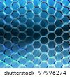 Abstract blue background 3d Metallic hexagons with backlight - stock photo