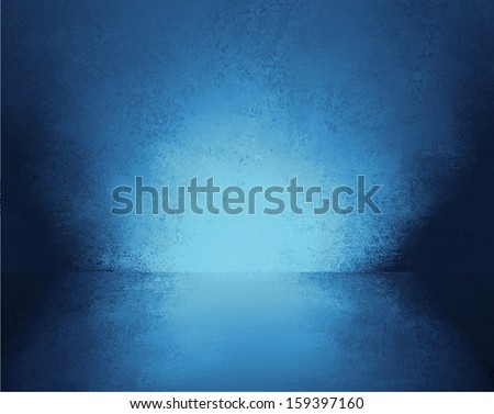abstract blue background empty room interior wall floor reflection illustration or 3d box display showcase for product ad brochure layout, vintage grunge background texture, blank stage or studio - stock photo