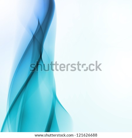Abstract blue background,  futuristic wavy illustration - stock photo