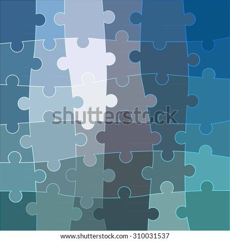 Abstract blue background made from white puzzle pieces and place for your content. raster version
