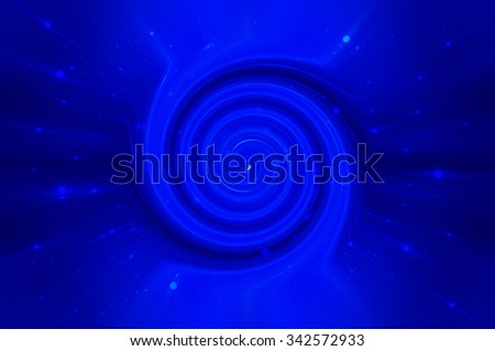 Abstract blue background spirals and galaxy