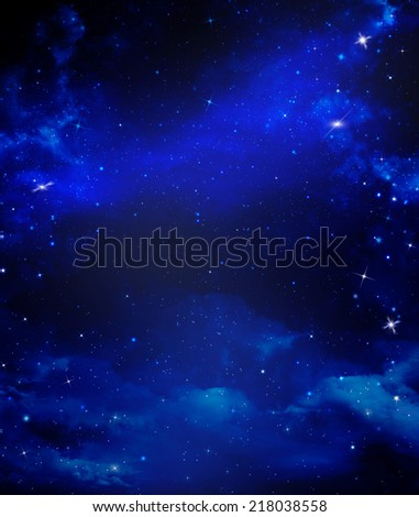 abstract blue background starry sky - stock photo