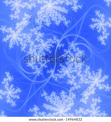 Abstract blue background, tender pattern from the thin lines and the soft snowflakes.