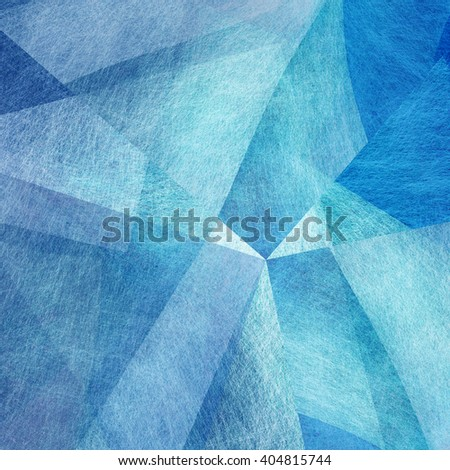 abstract blue background white and sky blue colors, random triangle pattern of angles and layers, linen parchment or canvas brush stroke texture illustration, soft faded blue textured material design - stock photo