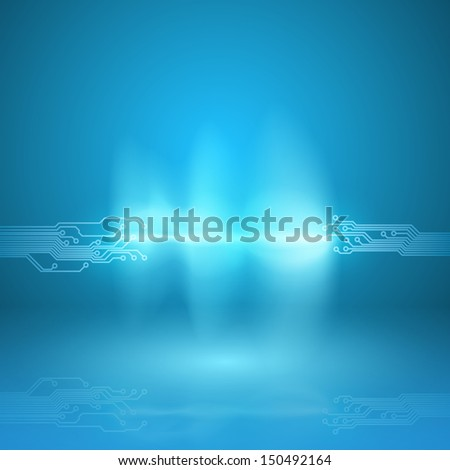 Abstract blue background with a circuit board texture and current arc. Raster version. - stock photo