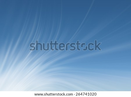 Abstract blue background with blurred white curved lines - stock photo