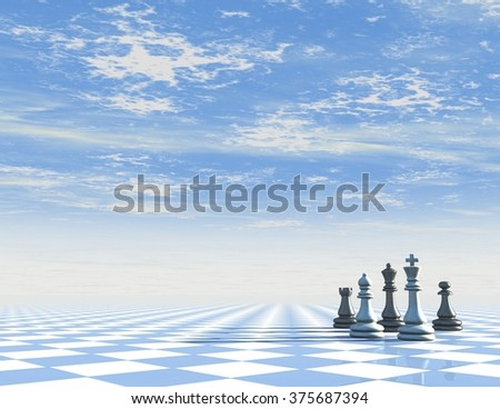 Abstract blue background with chess board and sky.
