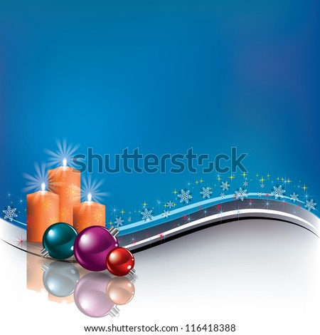 Abstract blue background with Christmas decorations and candles - stock photo