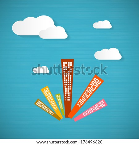 Abstract Blue Background with Clouds and Skyscrapers  - stock photo