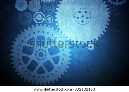 Abstract blue background with cog wheels