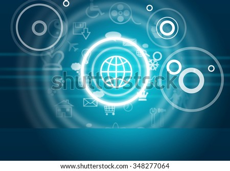 Abstract blue background with computer icons and circles