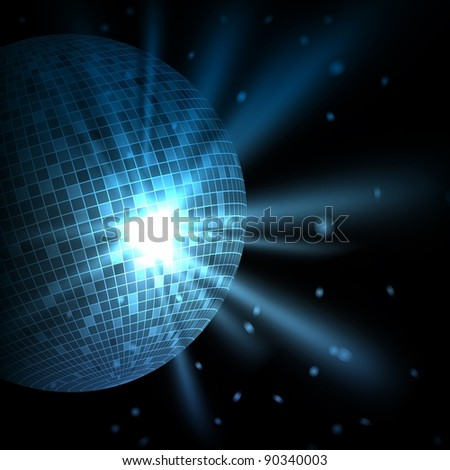 Abstract blue background with disco ball. Raster copy of vector illustration - stock photo
