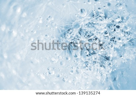 Abstract blue background with flakes and water drops