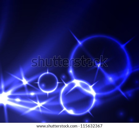Abstract blue background with glowing lines and stars. Raster version of the loaded vector.