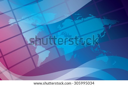 abstract blue background with map - stock photo