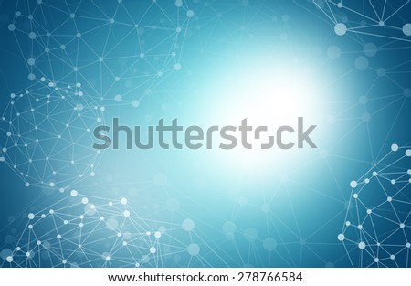 Abstract blue background with molecule and glowing spot - stock photo