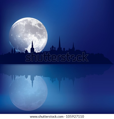 abstract blue background with silhouette of Tallinn and moon - stock photo