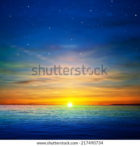 abstract blue background with stars and golden ocean sunrise - stock photo