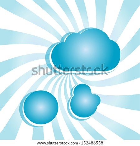abstract blue background with sun rays and clouds, raster