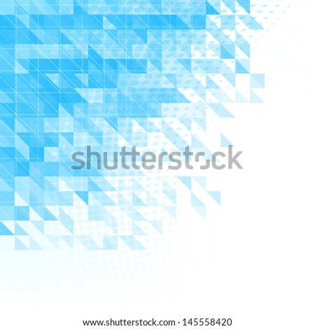 abstract blue background with triangles, squares and lines - stock photo