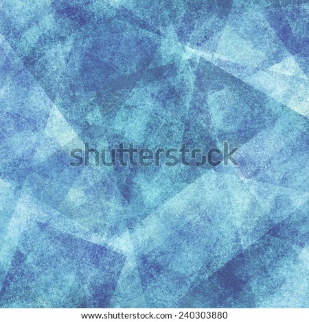 abstract blue background with white faded grunge rectangle and triangle shapes layered in random pattern - stock photo