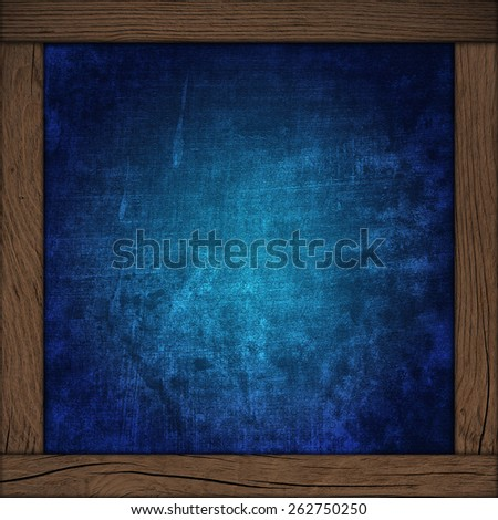 abstract blue background with wood frame - stock photo