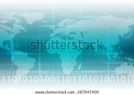 Abstract blue background with world map and figures