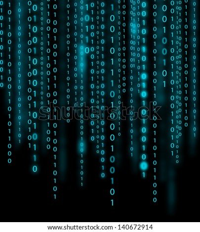 Abstract blue binary code background - stock photo