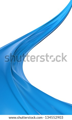Abstract blue cloth on a white background, image isolated