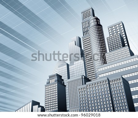Abstract blue corporate city skyscraper business background - stock photo