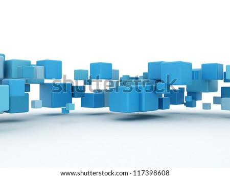 Abstract blue cubes - stock photo