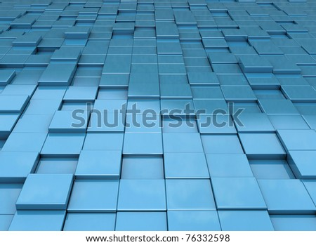 Abstract blue cubes background