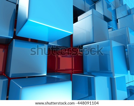 Abstract Blue Cubes Futuristic Design Background. 3d Render Illustration - stock photo