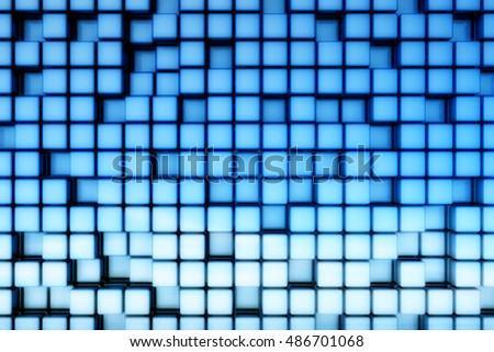 Abstract blue cubic space usable for background.3D illustration