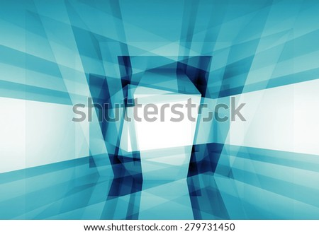 Abstract blue 3d interior background with geometric pattern - stock photo