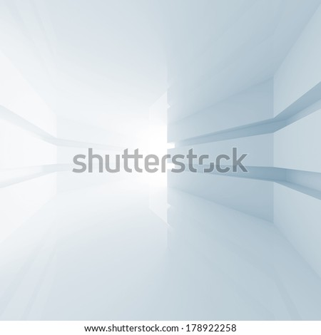 Abstract blue empty room interior with glowing doorway. 3d render - stock photo
