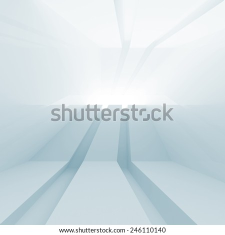 Abstract blue empty room interior with glowing perspective. 3d digital render - stock photo