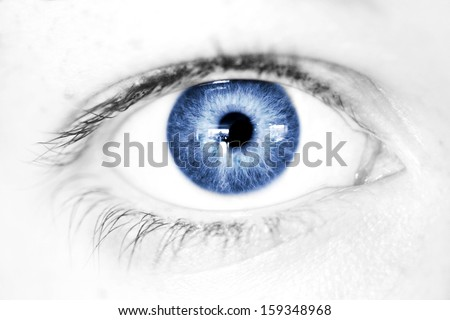 Abstract Blue Eye macro staring straight on, limited palette.  - stock photo