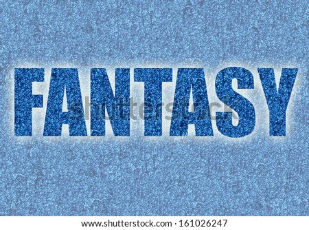 abstract blue fantasy word in glitter