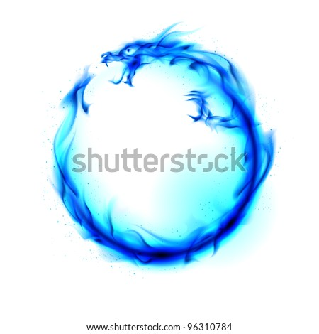 Abstract blue fiery dragon. Illustration on white background for design. - stock photo