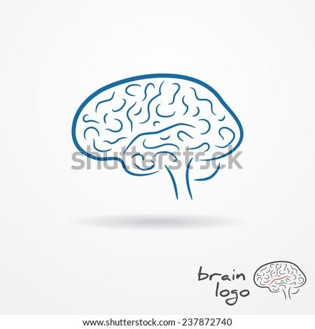 Abstract blue flat looking sketchy human brain logo - stock photo
