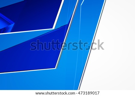 Abstract blue glass background 3d rendering of computer visualization