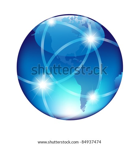 Abstract Blue Globe, Isolated On White Background - stock photo