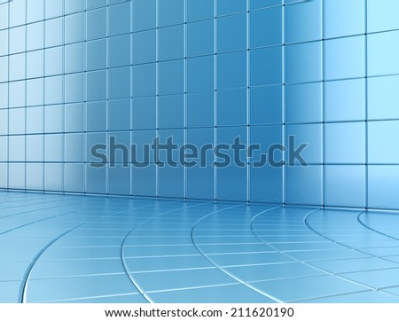 Abstract blue glossy cubes background  - stock photo