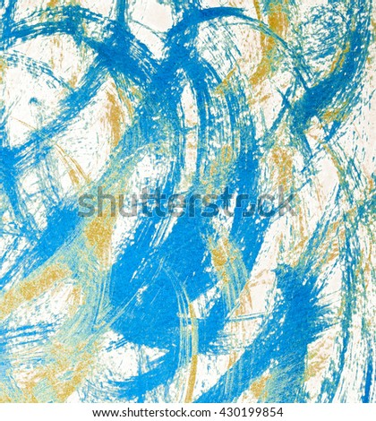 Abstract blue gold background. Acrylic grunge background - stock photo