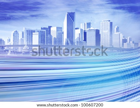 Abstract blue Illustration of an urban highway going to the modern city downtown . Background image of downtown Miami Florida is from my collection. - stock photo