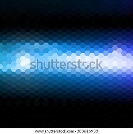 Abstract blue light. Blue neon light. Blue shiny light background. Dark background with blue light. Magic light. Mosaic blue light - stock photo