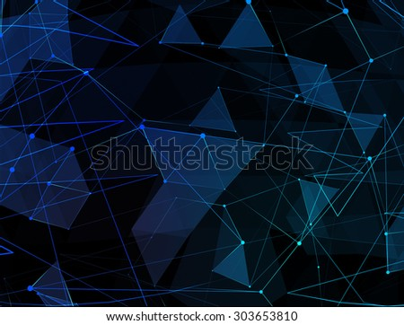 Abstract blue line network background. Technology concept of global internet. - stock photo