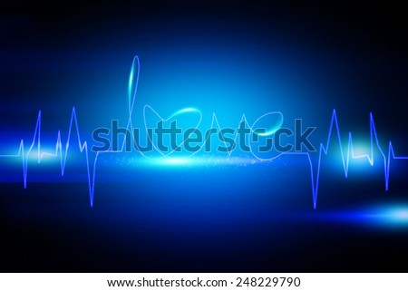 Abstract blue Love beat background - stock photo